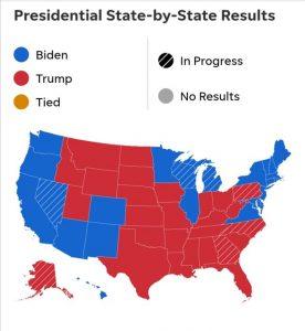 انتخابات آمریکا: ترامپ ۲۱۴-بایدن ۲۶۴